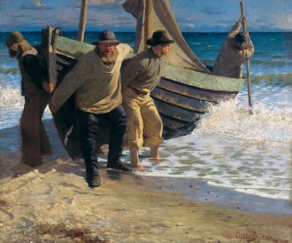 Båden sættes i søen. Skagen