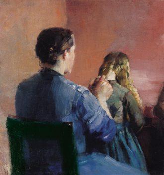 Christian Krohg. En mor fletter sin lille datters hår