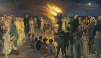 P.S. Krøyer: Sankt Hansblus på Skagen strand. 1906. Depositum fra Bankassistent Henry Sthyrs Mindelegat. Skagens Kunstmuseer