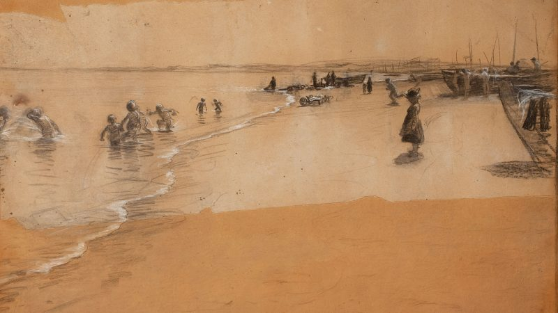 P.S. Krøyer. Badende børn, Skagen Sønderstrand (1884). Kul og kridt på karton