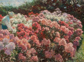 Laurits Tuxen: 'Rhododendron i Dagminnes have. Skagen'