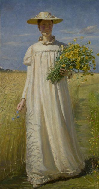 Michael Ancher. Anna Ancher vender hjem fra marken. 1902