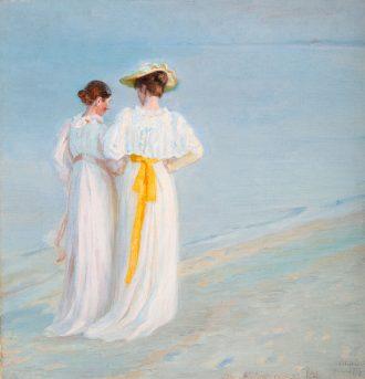 Michael Ancher. Sommeraften på Skagens Strand, Anna Ancher og Marie Krøyer gående (1897) | Anchers Hus