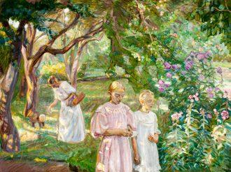 Fritz Syberg. Kunstnerens hustru og børn ved Pilegaarden. 1909 | Anchers Hus
