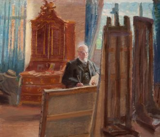 Michael Ancher ved arbejdet i sit atelier
