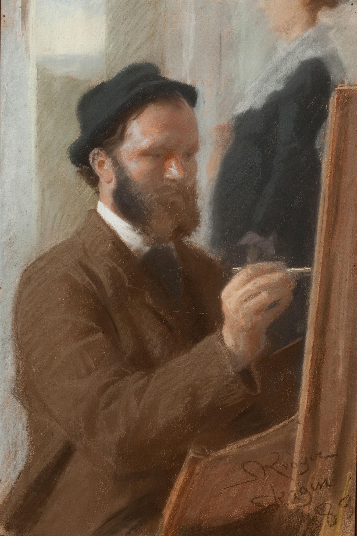 Michael Ancher maler portrættet af Anna, stående i døren