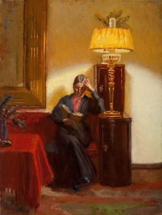 Anna Ancher læsende i daglistuen