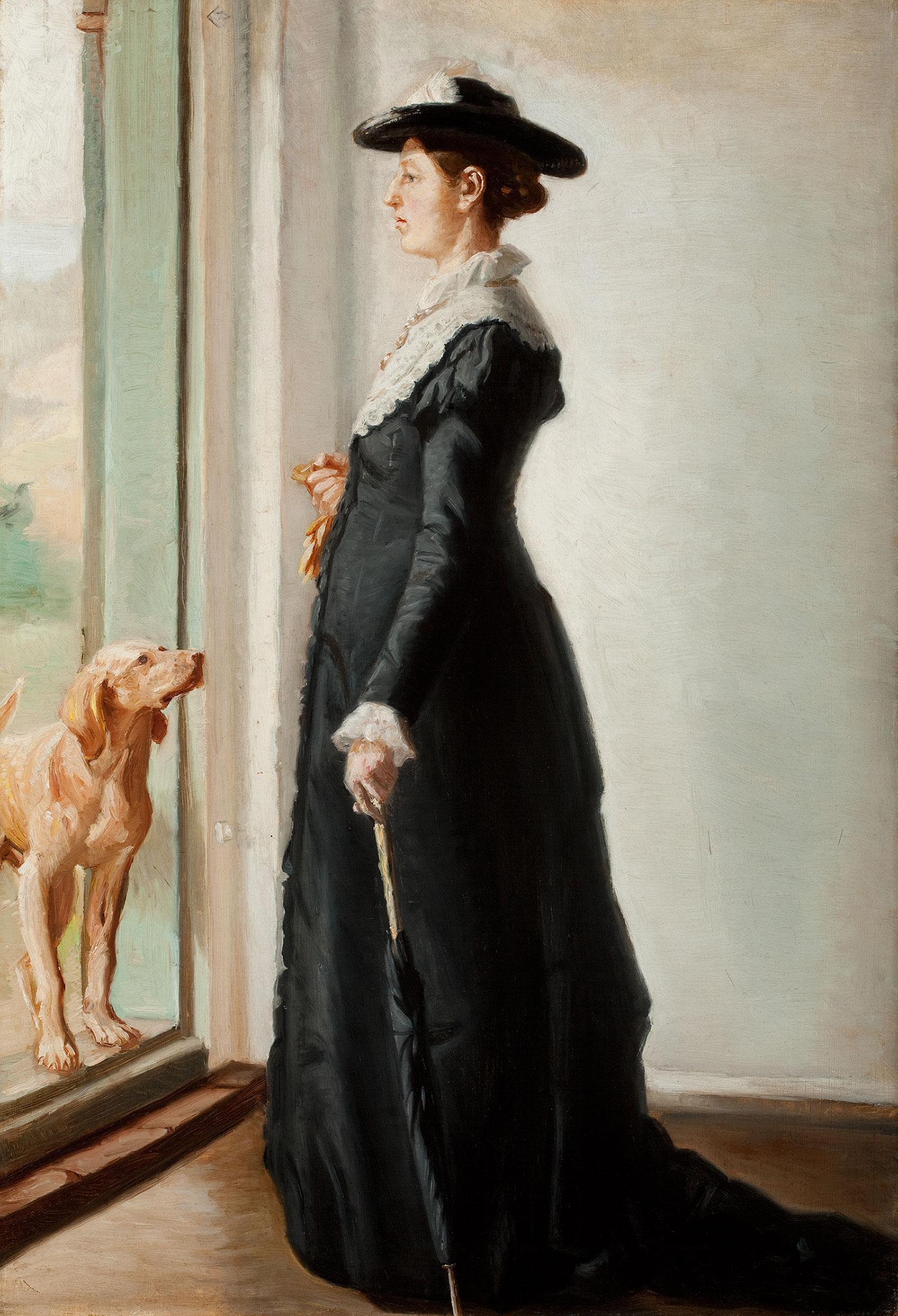 Anna Ancher stående i døren. Skitse til ''Portræt af min hustru''