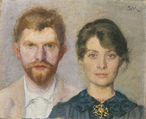 P.S. Krøyer og Marie Krøyer. Dobbeltportræt af Marie og P.S. Krøyer. 1890