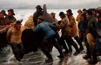 Michael Ancher. Fiskere i færd med at sætte en rorsbåd i vandet. 1881