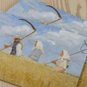 Skærebræt med Høstarbejder malet af Anna Ancher