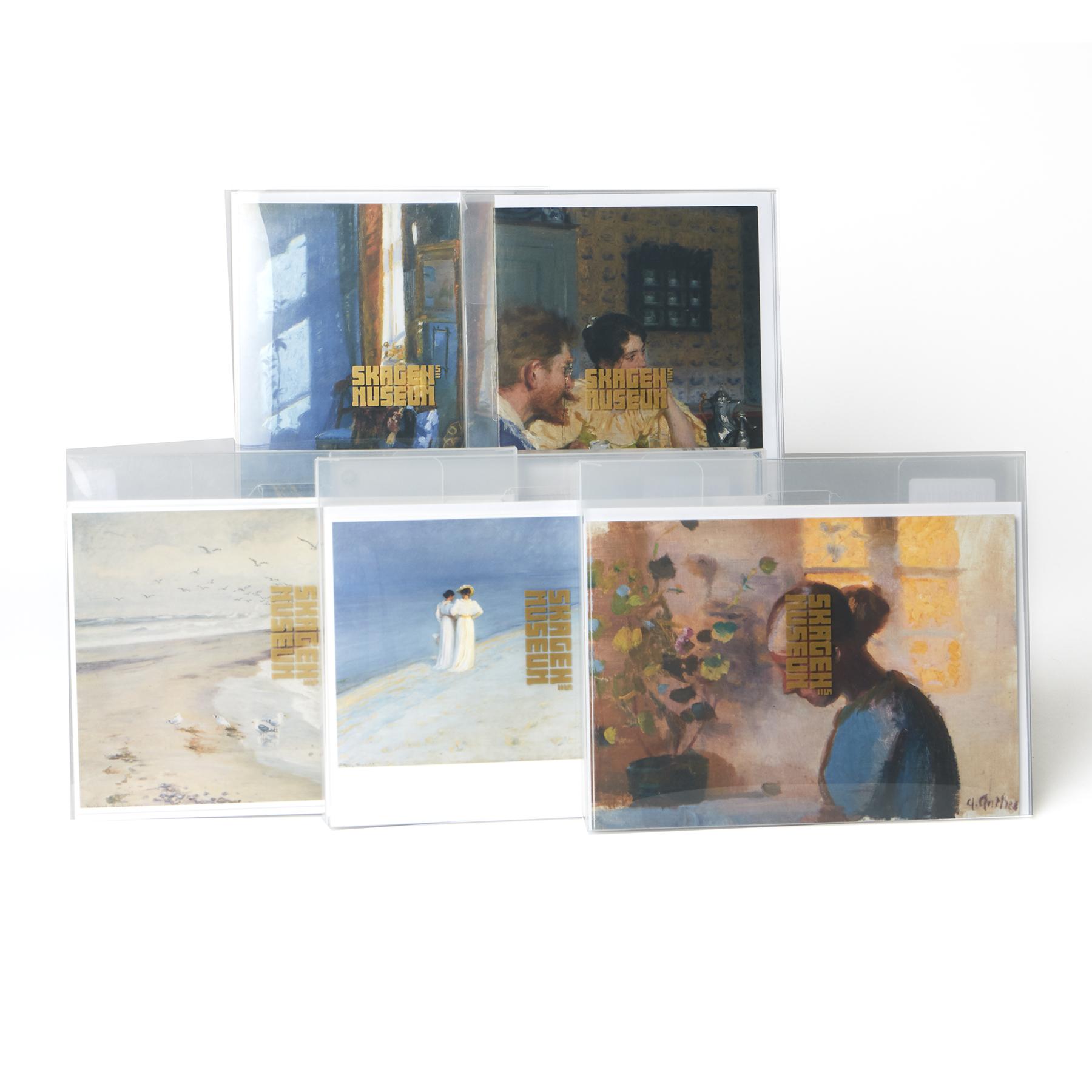 Dobbeltkort med motiver af skagensmalerne. To motiver i hver pakke