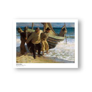 Båden sættes i søen. Skagen (plakat)