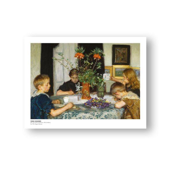Børn, der maler forårsblomster