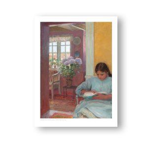 Interiør med læsende ung pige