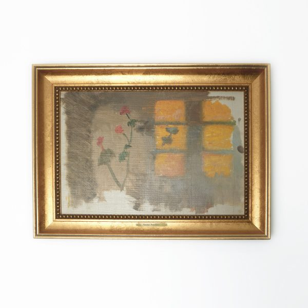 Solstrejf på en væg; pelargonier
