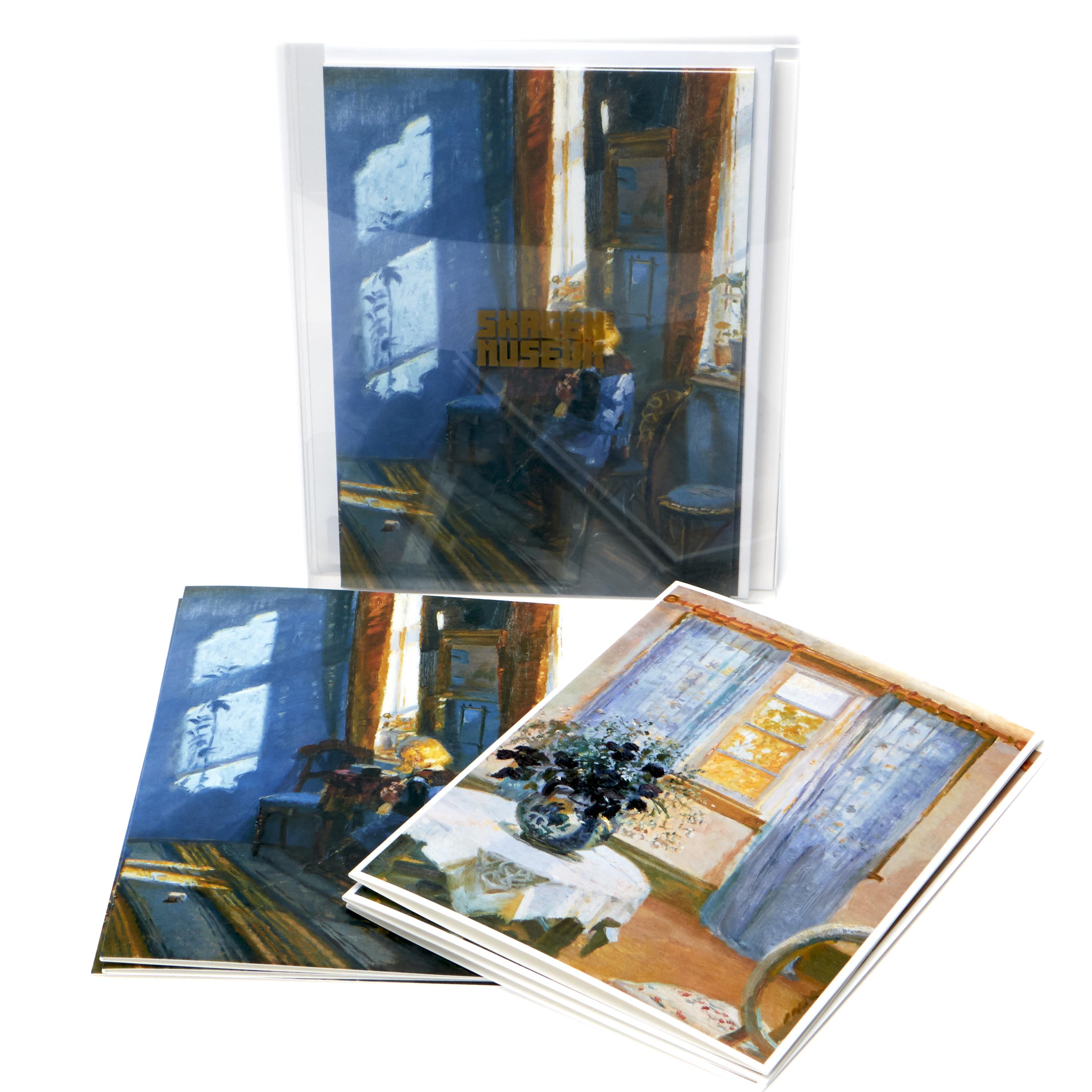 Dobbeltkort | Æske 3 | Anna Ancher. Interiør med klematis/Solskin i den blå stue