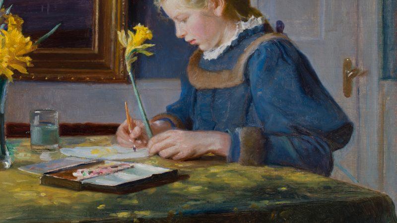 Michael Ancher: En akvarelmalerske (detalje). 1896
