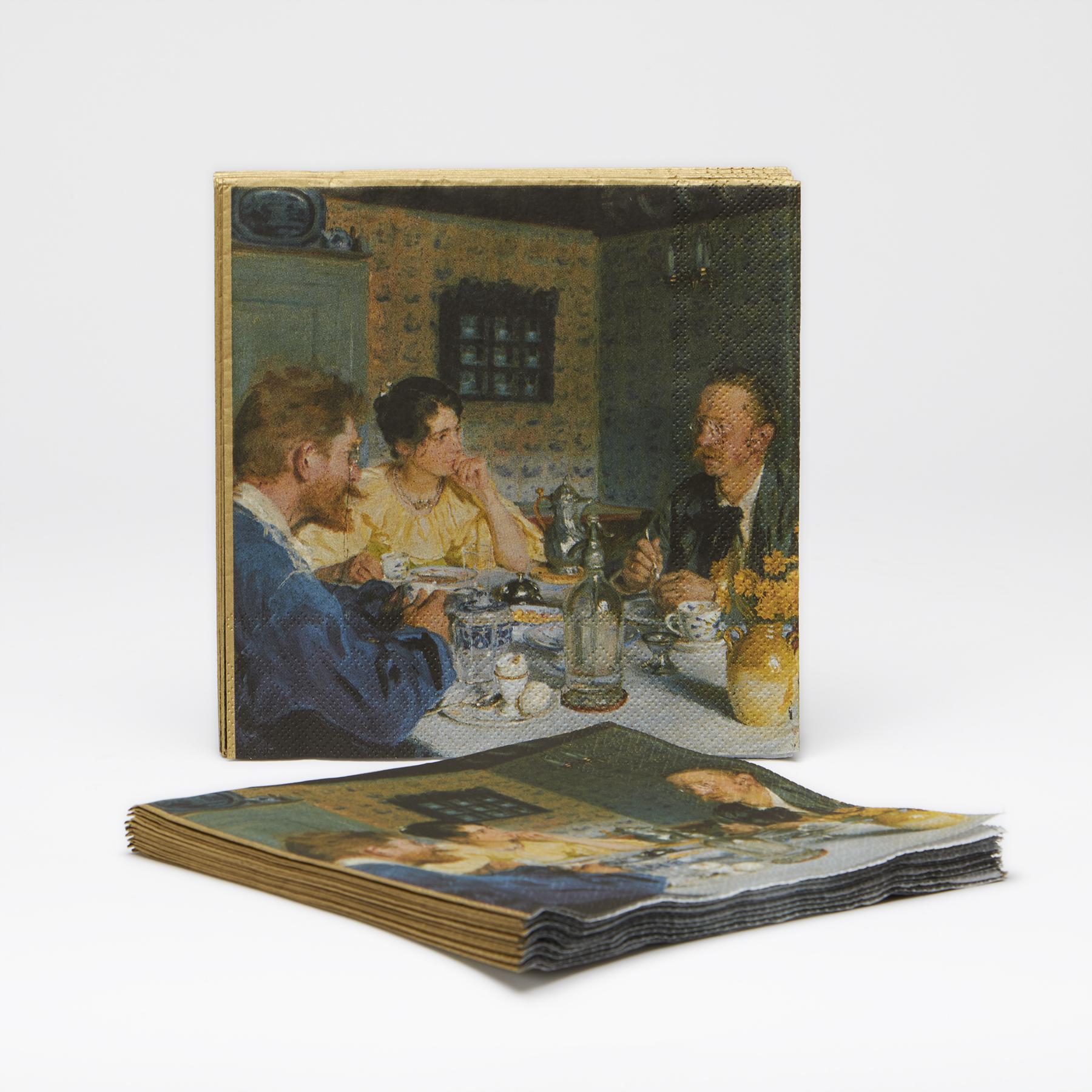 Servietter med motivet 'Ved frokosten' af P.S. Krøyer