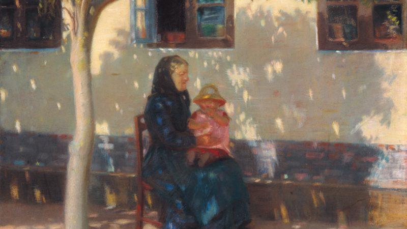 Anna Ancher. Kone med et barn siddende foran skrædder Uggerholts hus. 1889. SKM1834