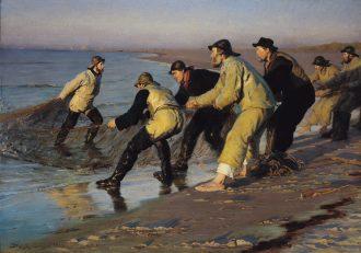 Fiskere trækker vod på Skagen Nordstrand. Sildig eftermiddag