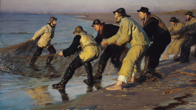 P.S. Krøyer. Fiskere trækker vod på Skagen Nordstrand. Sildig eftermiddag.1883. SKM1486
