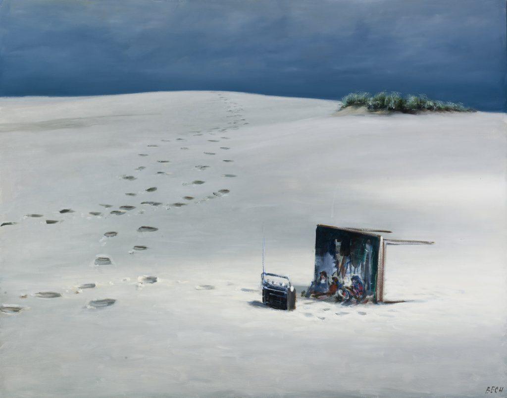 Poul Ancher Bech: Væltet bord i Råbjerg Mile. 1988