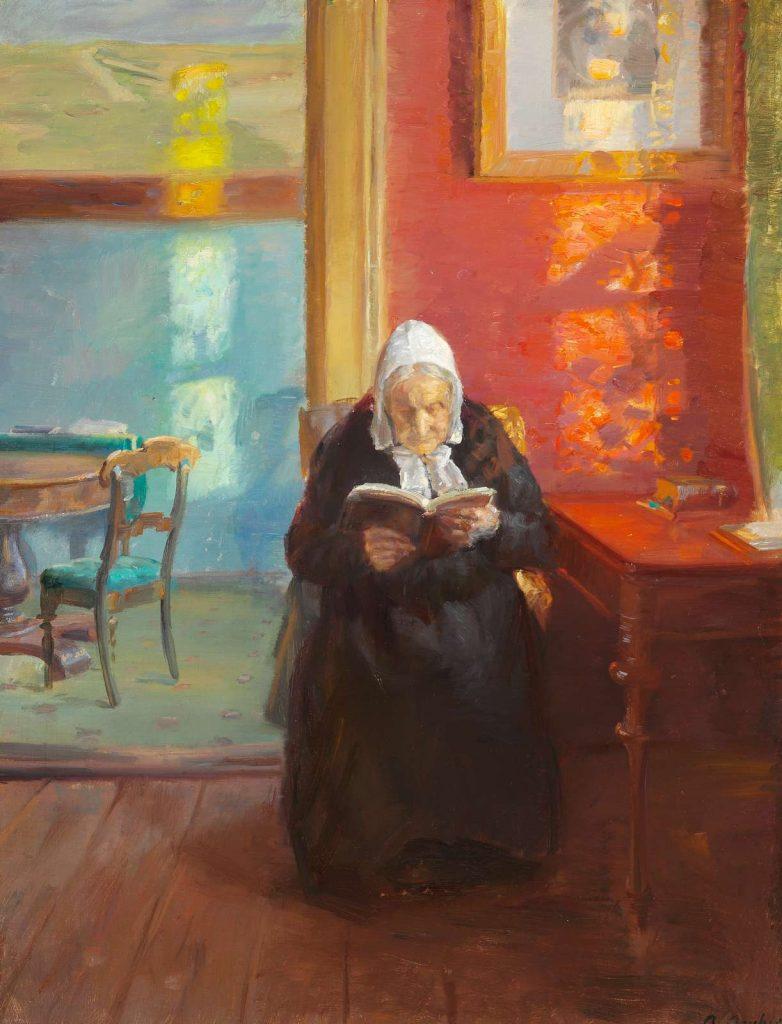 Anna Ancher: Kunstnerindens mor, Ane Brøndum, læsende i den røde stue.
