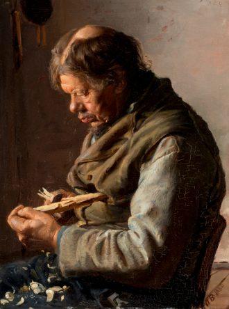 En gammel mand, der skærer pinde