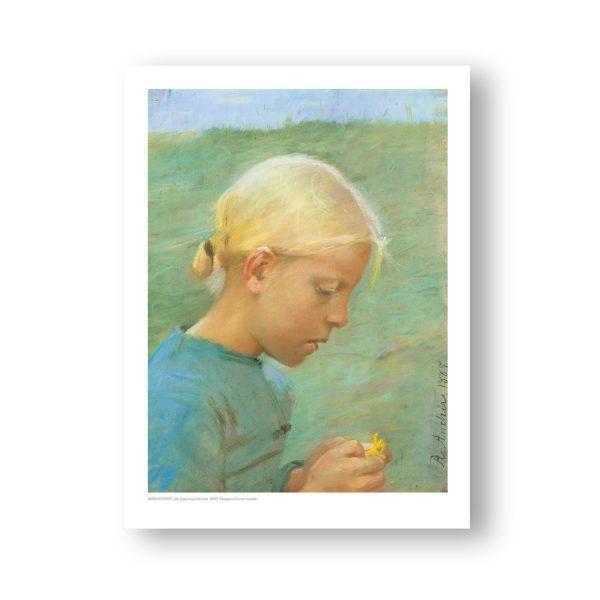 Plakat. Lille pige med blomst