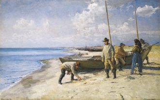 Viggo Johansen. Dividing the catch. 1885