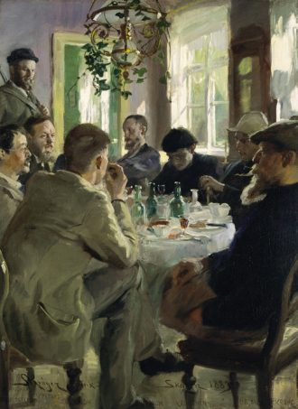 Peder Severin Krøyer. Artists' luncheon at Brøndum's Hotel. 1883