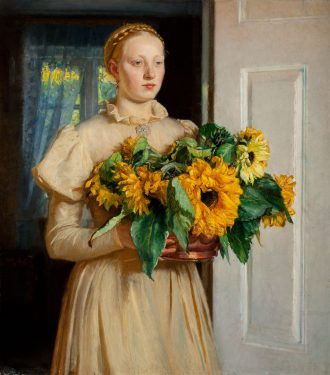 Michael Ancher: Girl with Sunflowers. 1893 | Anchers Hus