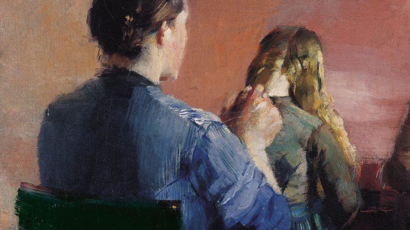 Christian Krohg: A mother plaiting her little daughter's hair. 1888