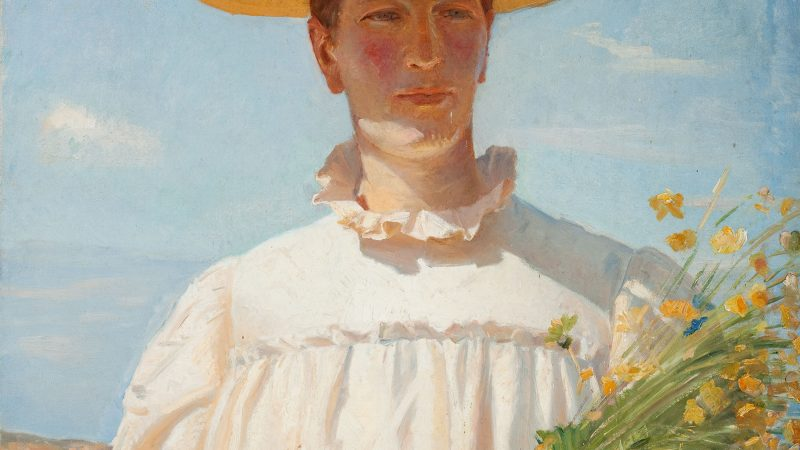 Michael Ancher: Anna Ancher returning from the field. 1902 (detail)