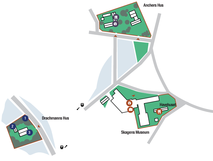 Map of Skagen and the museums