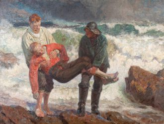 Laurits Tuxen. The drowned boy is brought ashore. 1913